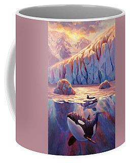 Orca Sunrise At The Glacier Coffee Mug by Karen Whitworth