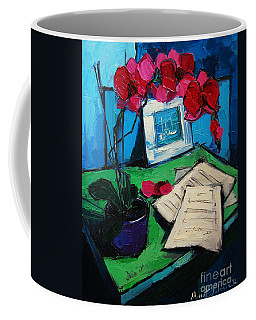 Orchid And Piano Sheets Coffee Mug