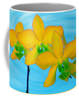 Orchid In Yellow Coffee Mug