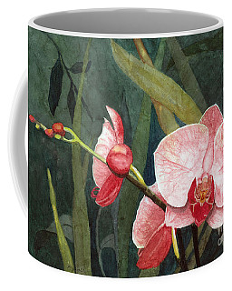 Coffee Mug featuring the painting Orchid Trio 2 by Barbara Jewell