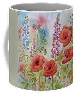 Coffee Mug featuring the painting Oriental Poppies Meadow by Carla Parris