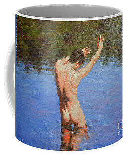 Original Classic Oil Painting Man Body Art-male Nude Standing In The Pool #16-2-4-05 Coffee Mug
