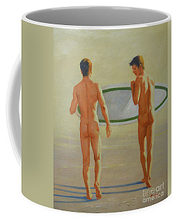 Original  Man Body Oil Painting  Gay Art -two Male Nude By The Sea#16-2-3-02 Coffee Mug