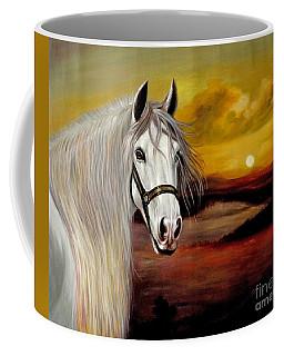 Original Oil Painting Animal Art-horse In Sunset #015 Coffee Mug by Hongtao     Huang