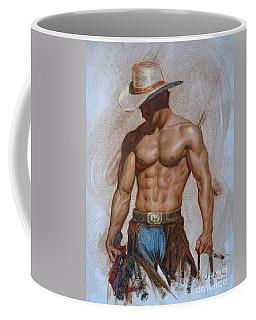 Original Oil Painting Gay Man Body Art-cowboy#16-2-5-19 Coffee Mug by Hongtao     Huang