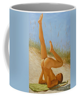 Original Oil Painting Man Art Male Nude On Sand On Canvas#16-2-5-05 Coffee Mug