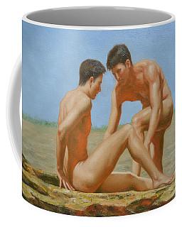 Original Oil Painting Man Body Art -male Nude By Hongtao#16-1-31-05 Coffee Mug by Hongtao     Huang