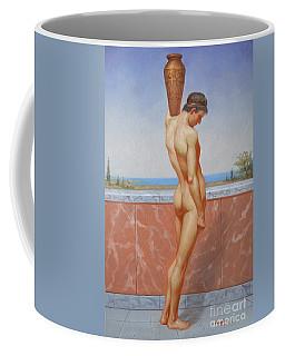Original Oil Painting Man Body Art Male Nude On Canvas#16-2-5-13 Coffee Mug