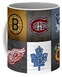 Original Six Hockey Team Retro Logo Vintage Recycled License Plate Art Coffee Mug