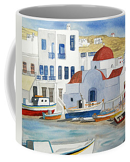 Coffee Mug featuring the painting Watercolor - Mykonos Greece Detail by Cascade Colors