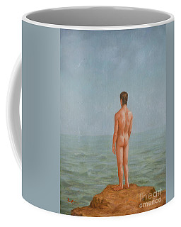 Original  Young Man Body Oil Painting  Gay Art - Male Nude And Seagull#16-2-2-02 Coffee Mug