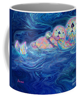 Coffee Mug featuring the mixed media Otter Family by Teresa Ascone