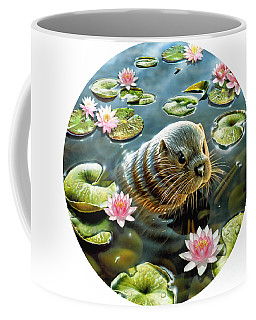 Otter In Water Lilies Coffee Mug