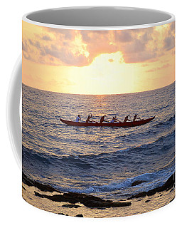 Outrigger Canoe At Sunset In Kailua Kona Coffee Mug by Catherine Sherman