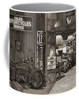 Outside The Old Motorcycle Shop - Spia Coffee Mug
