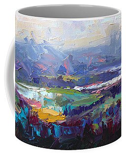 Coffee Mug featuring the painting Overlook Abstract Landscape by Talya Johnson