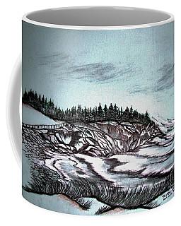 Coffee Mug featuring the drawing Oven's Park Nova Scotia by Janice Rae Pariza