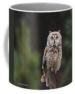 Owl In The Forest Visits Coffee Mug by Tom Janca