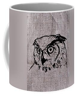 Owl On Burlap Coffee Mug