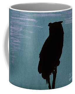 Coffee Mug featuring the drawing Owl Silhouette by D Hackett