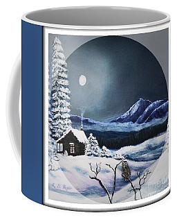 Owl Watch On A Cold Winter's Night In The Round  Coffee Mug by Kimberlee Baxter