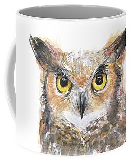Owl Watercolor Portrait Great Horned Coffee Mug