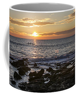 Paddlers At Sunset Horizontal Coffee Mug by Denise Bird