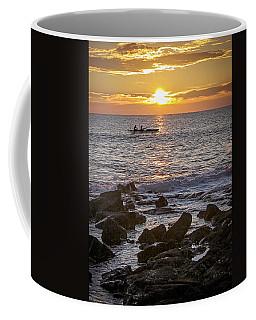 Paddlers At Sunset Portrait Coffee Mug