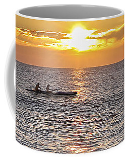 Paddlers At Sunset Portrait Coffee Mug