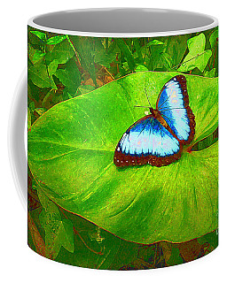 Painted Blue Morpho Coffee Mug by Teresa Zieba