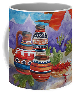 Painted Pots And Chili Peppers Coffee Mug