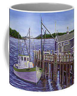 Fishing Boat Docked In Boothbay Harbor Maine Coffee Mug