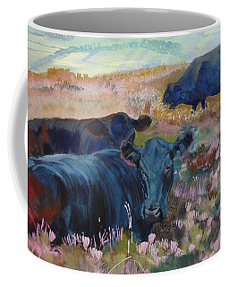 Painting Of Three Black Cows In Landscape Without Sky Coffee Mug
