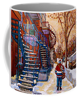 Paintings Of Montreal Beautiful Staircases In Winter Walking Home After The Game By Carole Spandau Coffee Mug