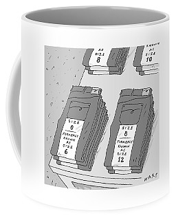 Pairs Of Jeans Are Seen With Tags Listing Coffee Mug
