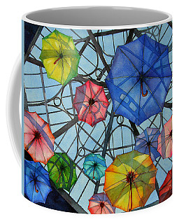 Coffee Mug featuring the painting Palazzo Parasols by Judy Mercer