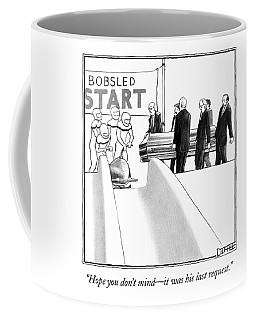 Pallbearers Carry A Coffin To A Bob Sled Team Coffee Mug