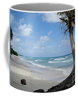 Palm Tree On The Beach Coffee Mug