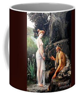 Coffee Mug featuring the painting Pan Consoling Psyche by Pg Reproductions