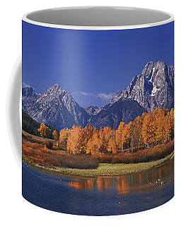 Coffee Mug featuring the photograph Panorama Fall Morning Oxbow Bend Grand Tetons National Park Wyoming by Dave Welling