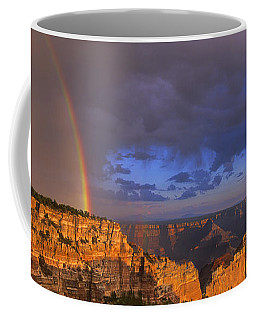 Coffee Mug featuring the photograph Panorama Rainbow Over Cape Royal North Rim Grand Canyon National Park by Dave Welling