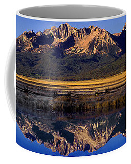Coffee Mug featuring the photograph Panorama Reflections Sawtooth Mountains Nra Idaho by Dave Welling