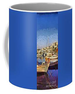 Panoramic Painting Of Mikrolimano Port Coffee Mug