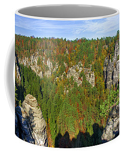 Panoramic View Of The Elbe Sandstone Mountains Coffee Mug