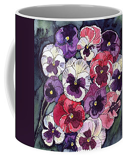 Coffee Mug featuring the painting Pansies by Katherine Miller