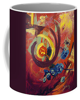 Coffee Mug featuring the painting Pansymania by Donna Tuten