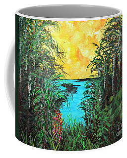 Coffee Mug featuring the painting Panther Island In The Bayou by Alys Caviness-Gober