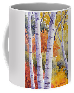 Paper Birches In Autumn Coffee Mug