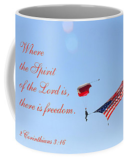 Parachuting With Old Glory Coffee Mug by Connie Fox
