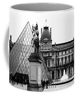 Paris Black And White Photography - Louvre Museum Pyramid Black White Architecture Landmark Coffee Mug